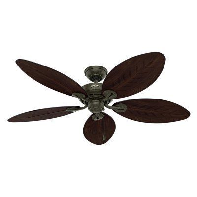 Hunter 54098 Bayview 54-inch ETL Damp Listed with Five Antique Dark Wicker/Antique Dark Palm Leaf Plastic Blades